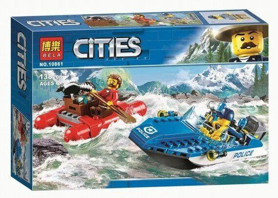 """Конструктор Bela 10861 (Аналог Lego City 60176) """"Погоня по горной реке"""" 138 деталей"""