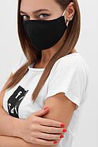 Багаторазова захисна чорна маска для обличчя на гумці, фото 2