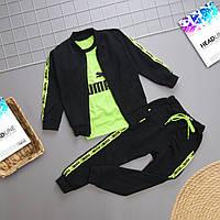 Детский теплый спортивный костюм тройка в стиле Пума на рост 80-116 см