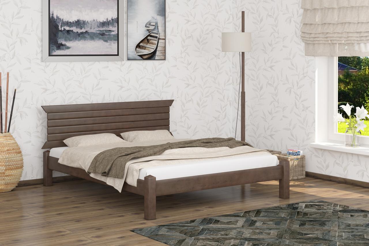Двуспальная Кровать из дерева сосна 180*190 Гефест MECANO цвет Темный орех 7MKR06