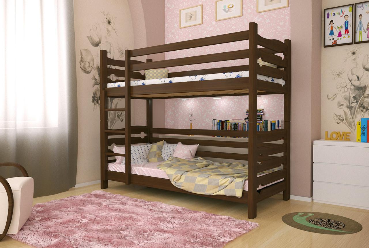 Двухъярусная кровать из дерева Сосна 90*190 Лилу Классик MECANO цвет Темный орех 16MKR04