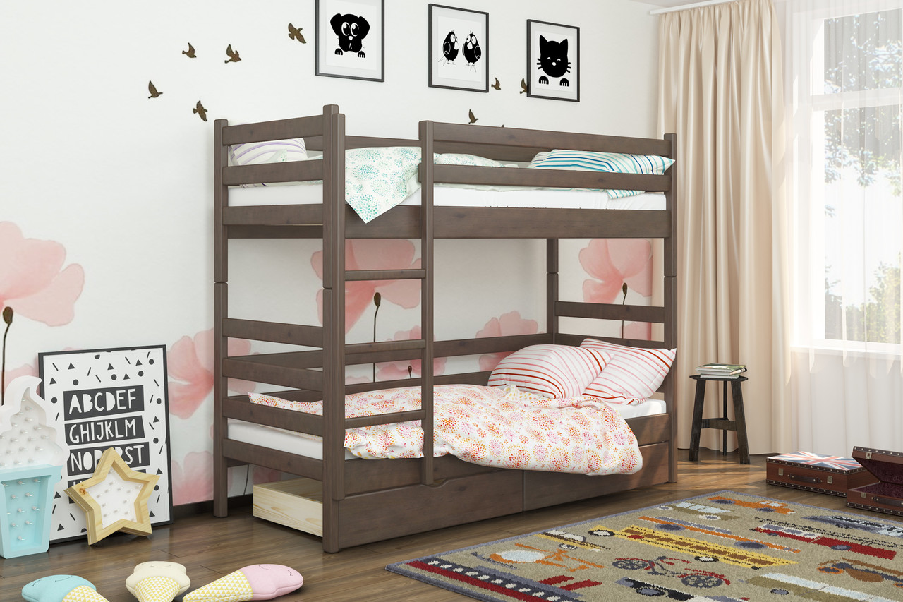 Двухъярусная кровать из дерева Сосна 90*190 Дуос Классик MECANO цвет Темный орех 11MKR08
