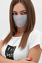Многоразовая защитная маска чёрная для лица на резинке, фото 3