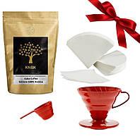 Подарочный набор Кофе/Фильтр/Пуровер красный (керамика)