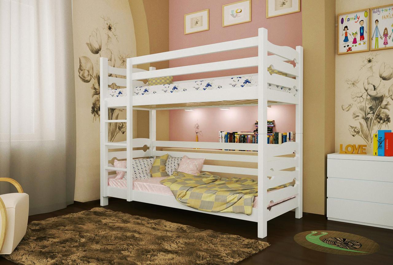 Двухъярусная кровать из дерева Сосна 80*190 Лилу Классик MECANO цвет Белый 16MKR09