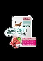 Optimeal (Оптимил) консерва для взрослых кошек С телятиной в клюквенном соусе 85 г, фото 1
