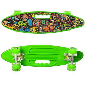 Скейт зеленый MS0461-2, пенни-борд, колеса ПУ, свет