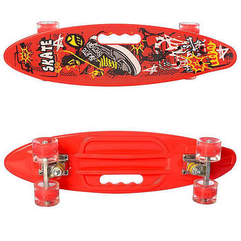 Скейт c ручкой красный MS0461-2, пенни-борд, колеса ПУ, свет