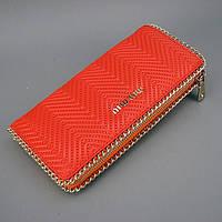 Помаранчевий жіночий шкіряний гаманець MIU MIU з натуральної шкіри, фото 1