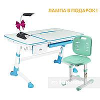 Комплект детская парта для школьника FunDesk Amare Blue с выдвижным ящиком+детский стул FunDesk SST2 Green