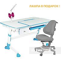 Комплект детская парта для школьника FunDesk Amare Blue с выдвижным ящиком+универсальное кресло FunDesk Bravo