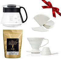 Подарочный набор Кофе/Фильтр/Сервер/Пуровер белый (полипропилен)