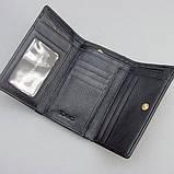 Гаманець жіночий маленький шкіряний 131-10840 лаковий чорний з бордовим відливом, фото 3