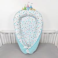 Кокон-позиционер для сна новорожденных в ярко-голубых тонах