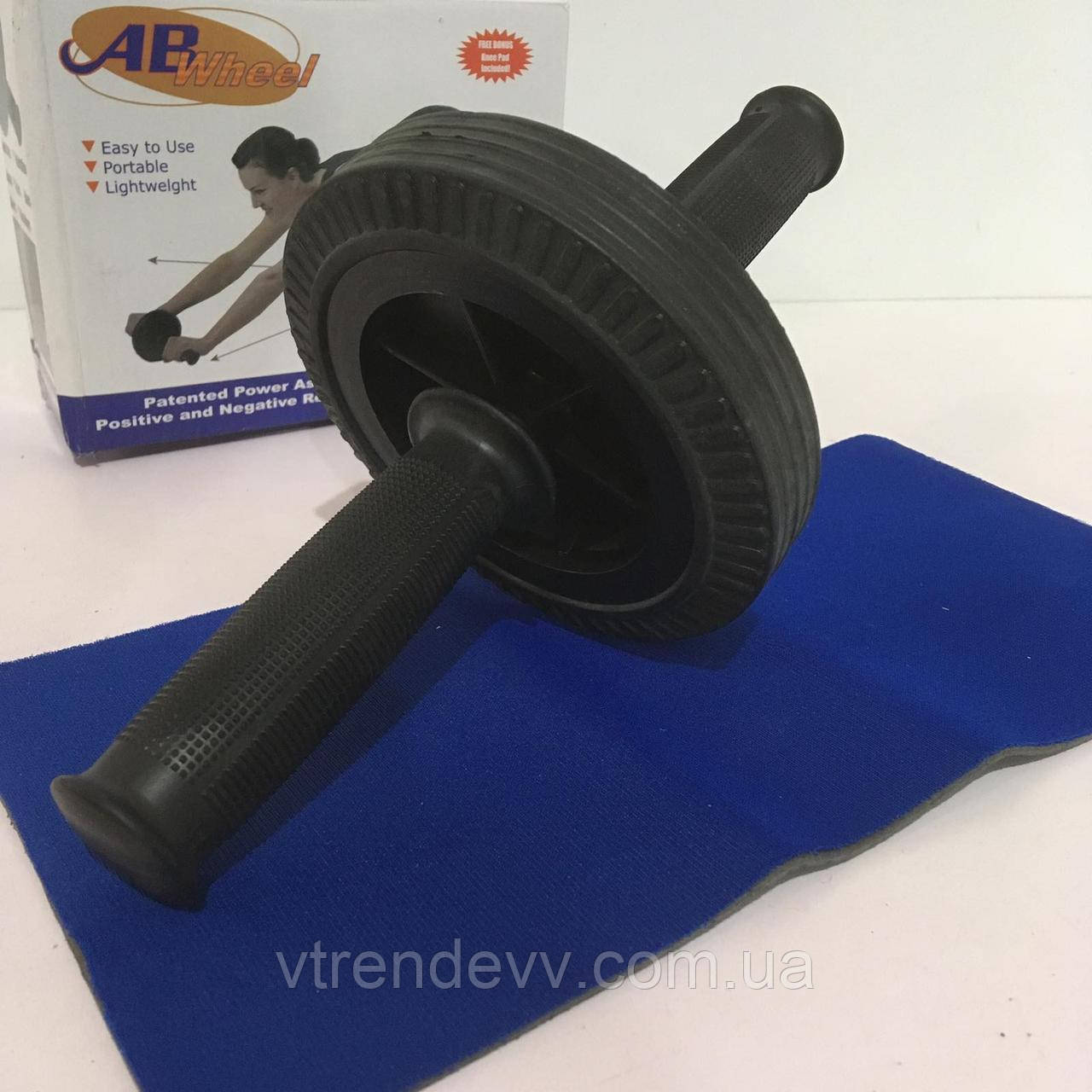 Тренажер ролик для пресса + коврик  AB Wheel 15см