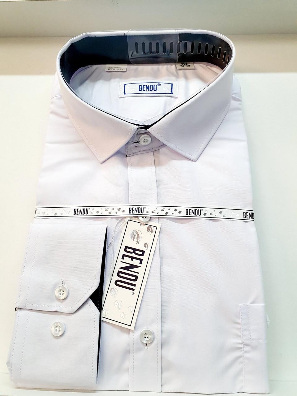 Рубашка Bendu белая с длинным рукавом - О-717 (M-4XL)