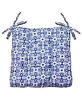 Подушка на стул табурет двухсторонняя Узоры синие