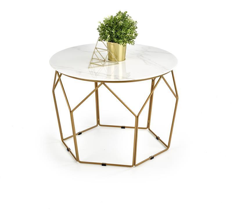 Журнальный стол MADISON белый мрамор/медь(60х60х45) Halmar