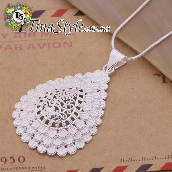Подвеска кулон ажурная капля  стерлинговое серебро 925 в стиле тиффани tiffany