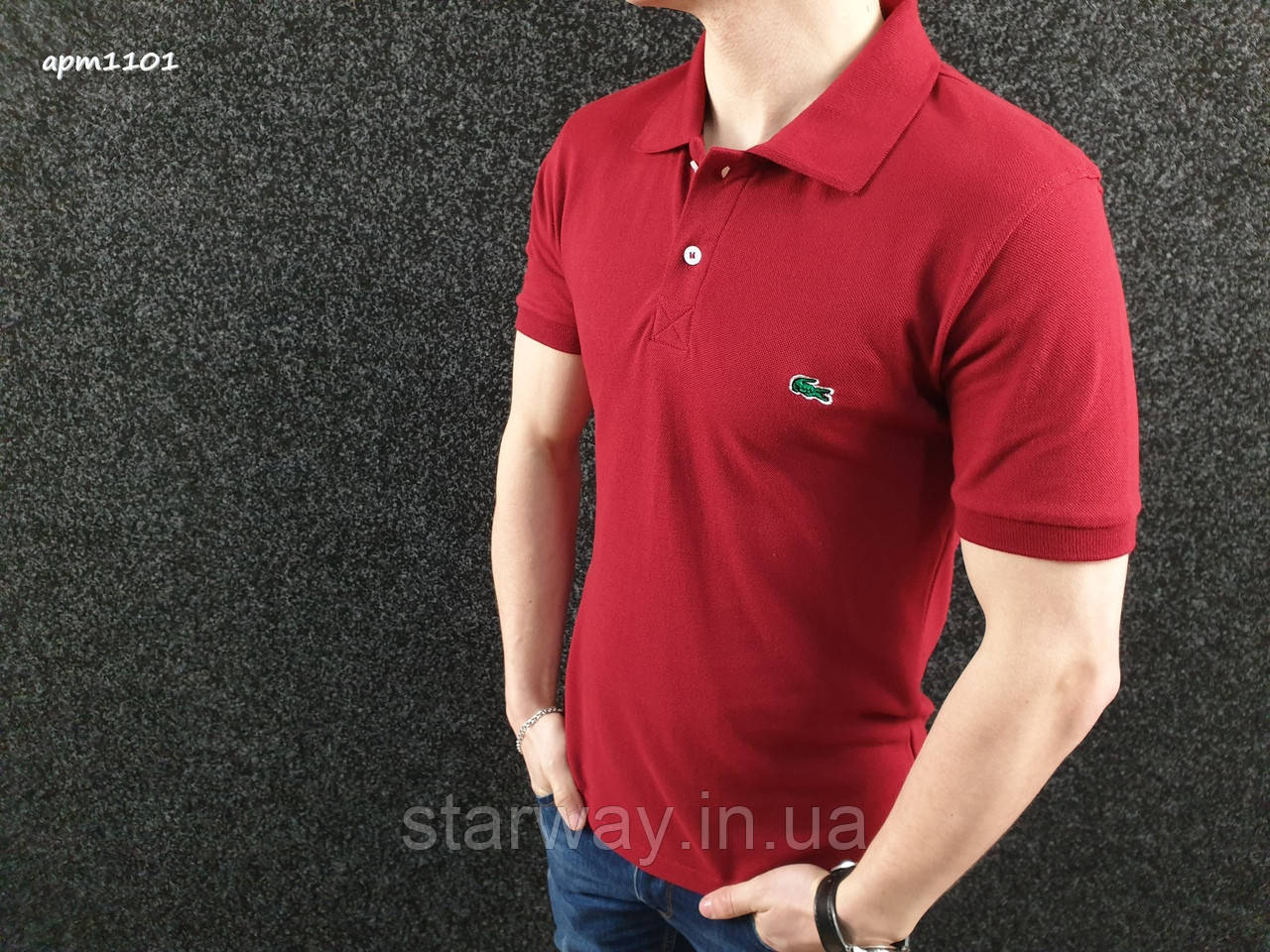 Футболка поло | бордовая тенниска Lacoste логотип вышивка | бирка
