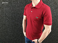 Футболка поло | бордовая тенниска Lacoste логотип вышивка | бирка, фото 1