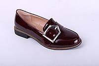 Туфли лоферы женские К017-6 GIRNAIVE лакированные бордовые