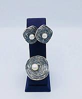 Женский серебряный набор кольцо и серьги из вставка Жемчуг