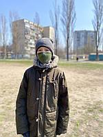 Маска детская защитная, тканевая, двухслойная, зеленая