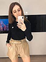 Женские кожаные шорты бежевые