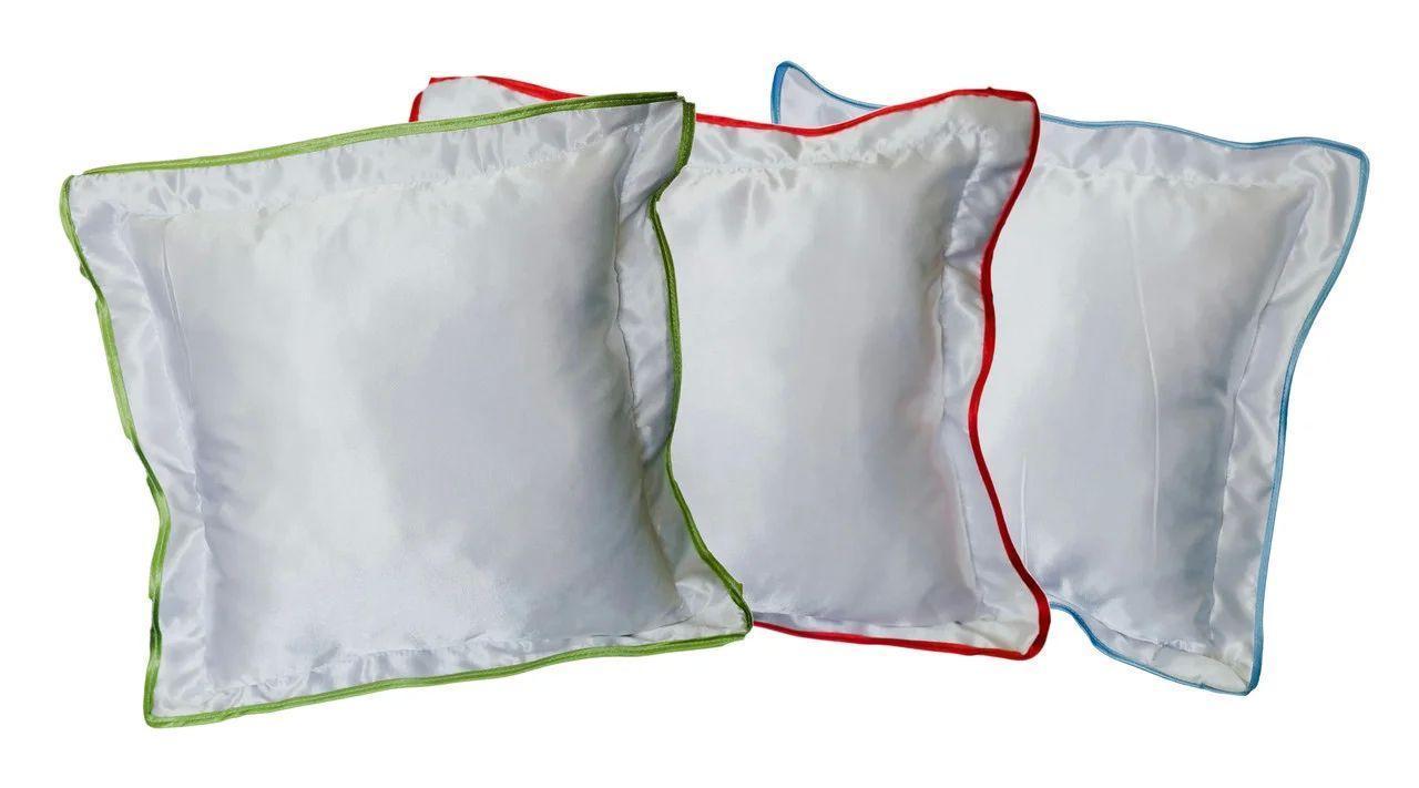 Подушка атлас с цветной каймой 35*35