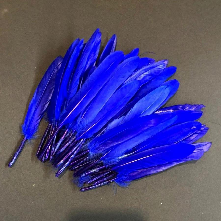 Перья синие 10-15 см 50шт
