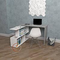 Стол компьютерный угловой Бетон, прямой, письменный стол из ДСП