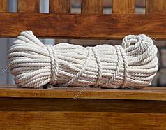 Канат хлопчатобумажный Ø 6 мм х 100 метров (моток) – Веревка бельевая хлопковая – Мотузка бавовняна Х/Б