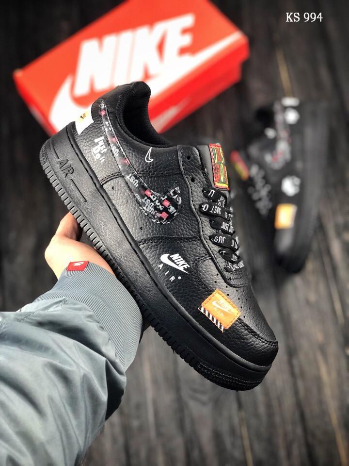 Мужские весенние кожанные кроссовки Nike Air Force 1 LV8 черные
