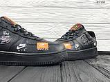 Мужские весенние кожанные кроссовки Nike Air Force 1 LV8 черные, фото 7