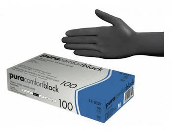 Перчатки нитриловые неопудренные черные р.S 50 пар