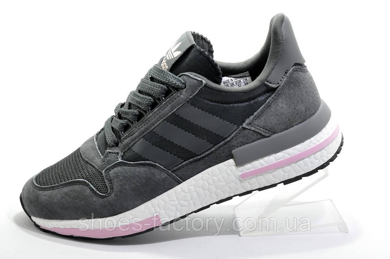 Кроссовки женские в стиле Adidas ZX 500 RM Boost, Dark Gray\White\Pink