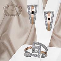 """Набор украшений из серебра 925 пробы с золотыми пластинами и белыми фианитами """"401"""""""