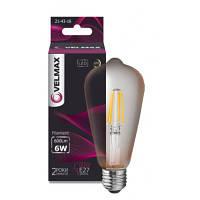 LED лампа филамен VELMAX V Filament Amber-ST64 6W E27 2500K 600LM