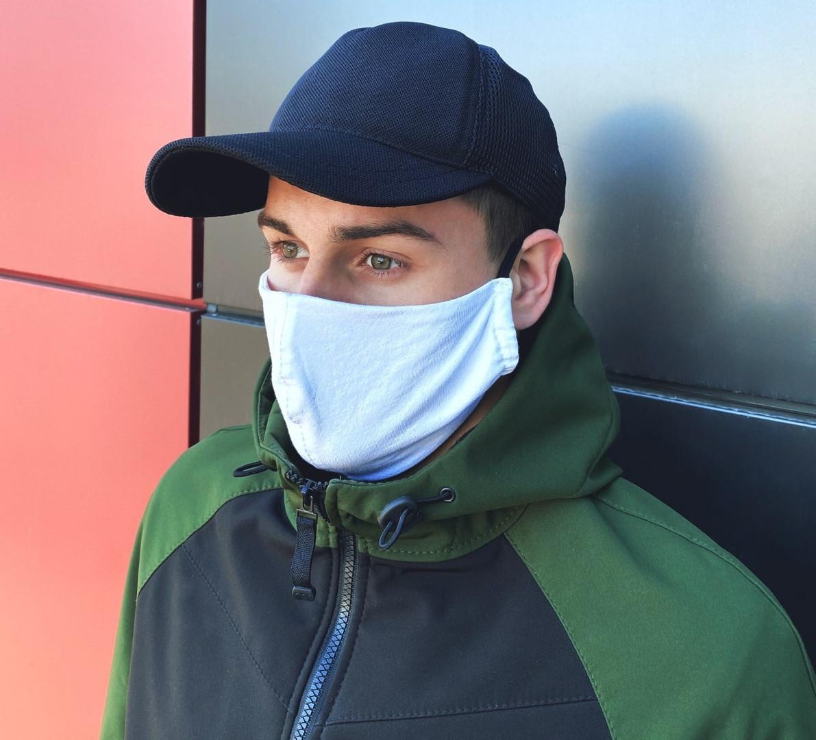 Набор однотонных плотных масок для лица (5 шт в комплекте) белые