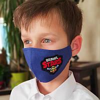 Многоразовая защитная маска для мальчика с вышивкой. Есть 2 цвета масок