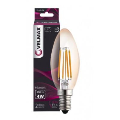 LED лампа філамент VELMAX V Filament C37 4W E14 2500K 600Lm