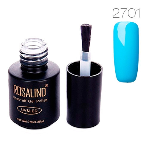Гель-лак для ногтей маникюра 7мл Rosalind, шеллак, 2701 голубой 2000-05034