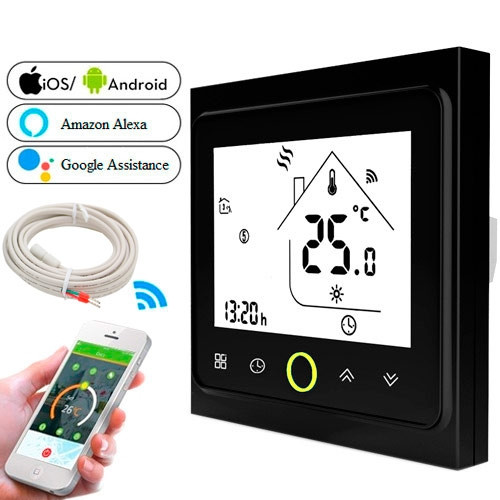 Терморегулятор Wi-Fi для эл теплого пола 220В 16А BHT-002-GBLW, черный 2001-00284