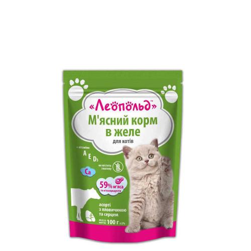 Консервы Леопольд готовый обед для котов ассорти говядина и сердце в желе, 100 г