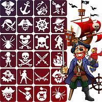 Набор трафаретов Пираты для блеск тату, био тату хной, 6х6, 24 шт.