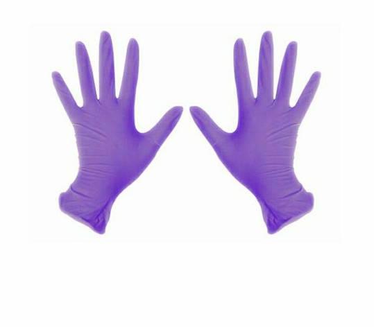 Перчатки нитриловые 100 ШТ неопудренные фиолетовые  м, фото 2
