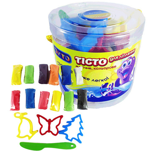Набор для лепки 10 цветов+формочки LOVIN`DO / Набор для творчества / Пластилин