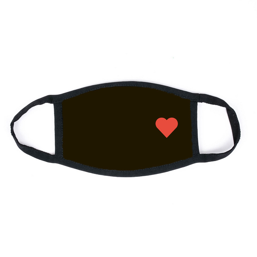 Маска на лицо Пушка Огонь Сердце черная