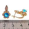 Серьги Xuping из медицинского золота, голубые и белые фианиты, позолота 18К, 24235       (1), фото 2